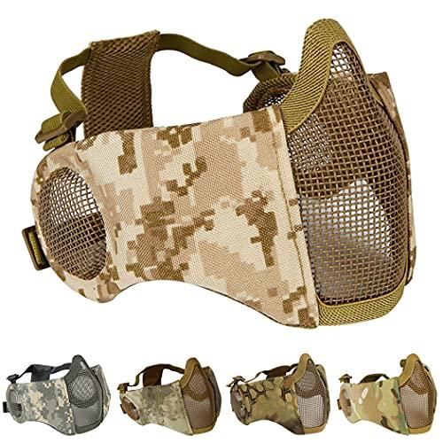 Aoutacc Máscara plegable de airsoft, máscara de malla de media cara con protección para...