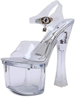 Transparent Womens Platform Sandals,Ladies Perspex Clear Block Heels,for Dress/Party/Pumps