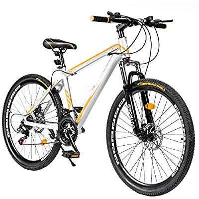 PanAme 26 Inch Mountain Bike, Aluminum Alloy Frame Bike with 21 Speed Dual Disc Brakes, Front Suspension Anti-Slip Bike for Adult - Sliver