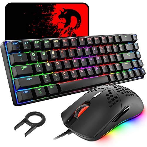 60% Gaming Esports Tastiera Meccanica Interruttori Blue mini 68 tasti cablato Illuminazione multicolore RGB + Mouse RGB leggero 6400DPI mouse ottico a nido d'ape + Large mouse pad - Nero