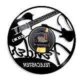 WAGUZA Telecaster Disque Vinyle Horloge Murale Guitare Rock N Roll Instrument de Musique Moderne tenture Murale décor pour Amateur de Guitare Cadeau
