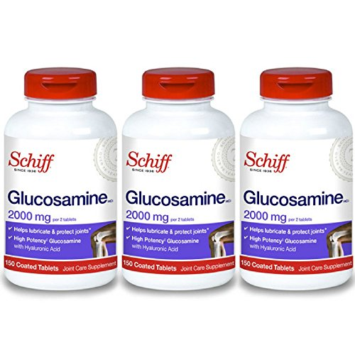 Schiff Glucosamine 2000mg with Hyaluronic Acid, 150 tablets - Joint Supplement (Pack of 3)