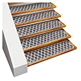 House, Home and More Set of 15 Skid-Resistant Carpet Stair Treads – Diamond Trellis Lattice – Misty Gray & Linen White – 8 Inches X 26 Inches