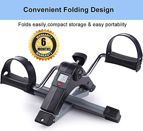 HB Mall India Fitness Cycle-Foot Pedal Exerciser-Foldable Portable Foot,Hand,Arm,Leg Exercise Pedaling Machine - Folding Mini Stationary Bike Pedaler Fitness Gym Equipment for Seniors Digital Home Gym