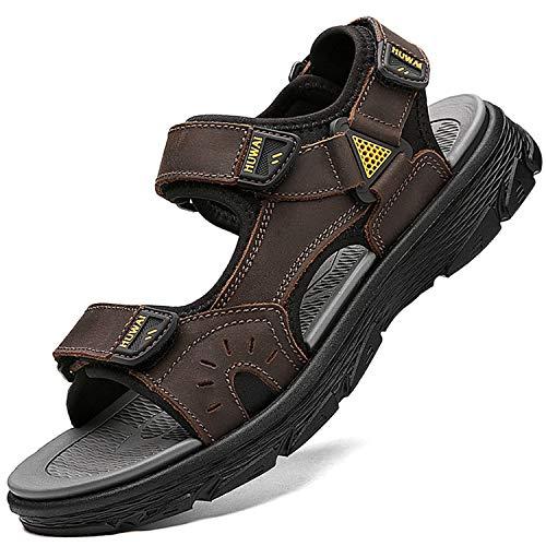 Lvptsh Sandali Sportivi Uomo Sandali de Passeggio Estivi All'aperto Escursionismo Trekking Sandals Pelle Casual Traspirante Spiaggia Sandaletti,Marrone 1,EU43