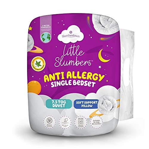 Slumberdown Little Slumbers Anti Allergy Kids Single Duvet 7.5 Tog Summer Duvet Single Bed Plus Soft Pillow