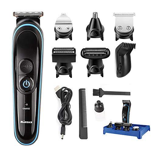 Juego de cortacésped de pelo con afeitadora facial recargable, con afeitadora de barba, recortador de precisión, nariz, recortador de pelo (negro5)
