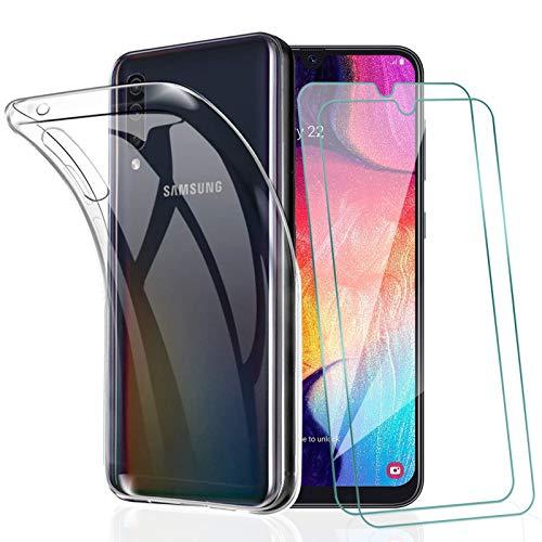 KEEPXYZ Funda para Samsung Galaxy A30s / A50 / A50S + 2 Pcs Protector de Pantalla Cristal Templado, Flexible Suave Silicona Transparente TPU Carcasa + Vidrio Templado para Galaxy A30s A50 A50s