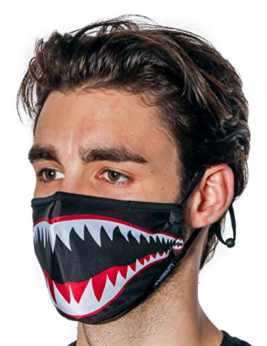 Fydelity-Breathable Face Mask Comfortable Fabric Cover Reuse:Shark Tiger Black