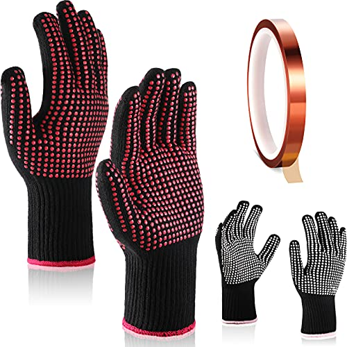 4 Pieces Heat Resistant Glove with Silicone Bumps 1 Roll Heat-resistant Adhesive Tape Heat Proof Gloves ()