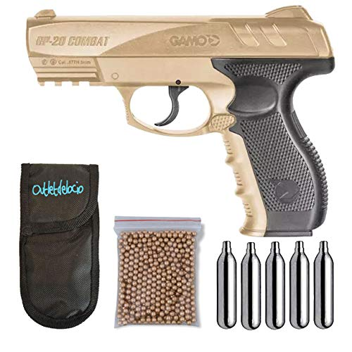 Outletdelocio.. Pistola perdigon Gamo GP-20 Desert. 4,5mm + Funda balines + Bombonas co2. 23054/29318/13275