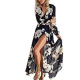 Ninasill Women Dress, Exclusive Floral Print Long Sleeve Boho Evening Party Long Maxi Dress (L, Black)