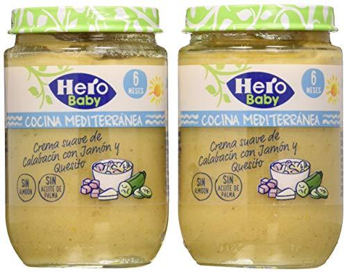 Hero Baby Cocina Mediterránea Tarrito de Crema Suave de Calabacin con Jamón y Queso para Bebés A Partir de 6 Meses Pack de 2 x 190g