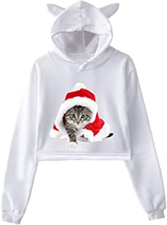 RUIVE Women's Short Yoga Hoodie Fall Loose Tops Funny Christmas Red Hat Cat Print Blouse Girls Lovely Hooded Pullover