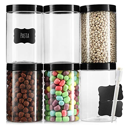 Pack of 6 - Clear Empty Plastic 25 Oz Storage containers with Lids - Round Plastic Containers - Plastic Jars with Lids and Labels – BPA Free Plastic Jar - Food Grade Air Tight – Pantry Canisters