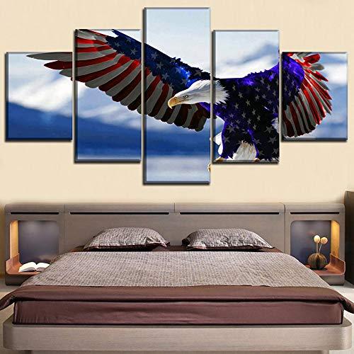 HOMOPK 5 Canvas foto beelden Amerika dier witte kop zeeadler vogel vlag 5-delig muurschildering achtergrond muur schilderen behang druk poster keuken decor poster gift 30x40cmx2 30x60cmx2 30x80cmx1 Frameloos.