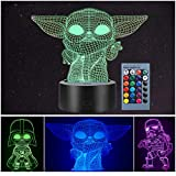3 Pattern 3D Illusion Star Wars Night Light for Kids, 16 Color Change Decor Lamp - Star Wars Toys and Gifts Baby Yoda/Darth Vader/Stormtrooper