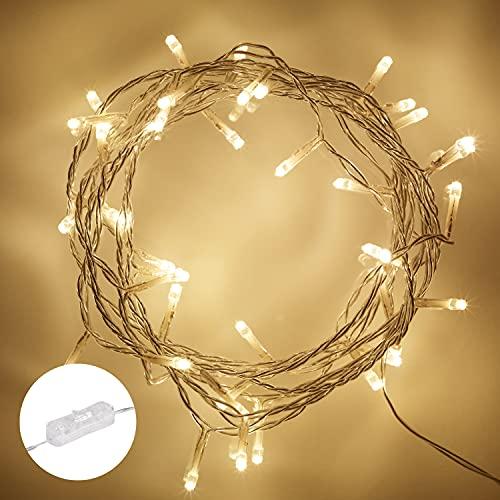 Lights4fun Filo di 50 Luci LED a Luce Bianca Calda con Interruttore per Uso in Interni