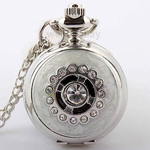 J-Love Reloj de Bolsillo de Cristal Plateado a la Moda para Mujer, Relojes de Cuarzo con Cadena de Collar, Diamantes de imitación para Mujer, Reloj para niños y niñas