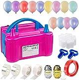 Icnow Inflador de globo eléctrico, bomba de globo hinchable eléctrica, 600 W, doble boquilla con kit de cinta arco de globos guirnalda para celebraciones, bodas, Navidad, cumpleaños (enchufe europeo)
