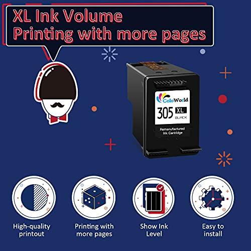 ColoWorld Remanufacturados 305 305XL Negro Cartuchos de tinta para hp 305 XL 305XL Negro para hp DeskJet 2710 2720 DeskJet Plus 4100 4130 4120 Envy 6032 6020 6022 Envy Pro 6430 6420 Impresora 1Paquete