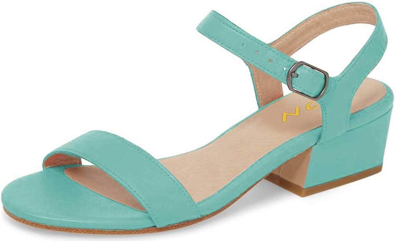 YDN Women Comfort Block Low Heel Sandals Open Toe Strappy Slingback Ankle Strap Leather Dress Pumps
