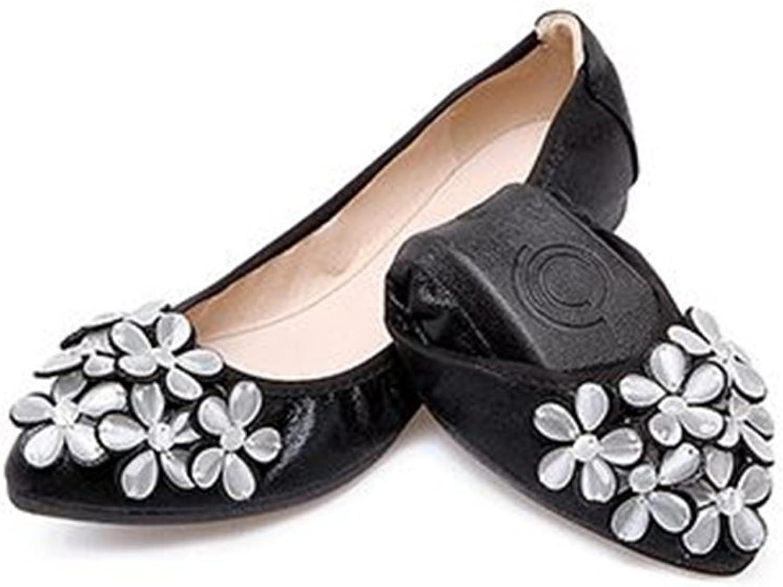 Women Ballet Flats Rhinestone Flower Casual Slip-on Comfort Walking shoes