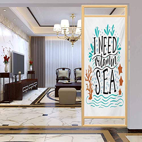 StaticClingGlassFilmNonAdhesiveWindowCling, Sea I Need Vitamin Sea Inspirational Quote Hand Drawn w, Privacy Glass Film for Home &Office, W23.6xH78.7 Inch