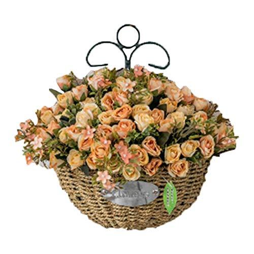 Demarkt Simulación de pared colgante flor de pared planta falsificada flor colgante cesta jardín creativo pared colgante paja cesta + fragancia rosa
