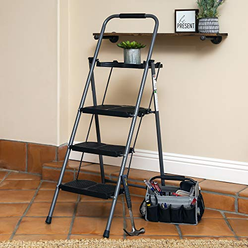 Best Choice Products Portable Folding 3-Step Ladder w/Rubber Feet Caps, 330lb Capacity