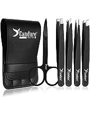 Candure Tweezers for Eyebrow Plucking, Beard, Nose & Ingrown Facial Hairs Slant & Pointed Tip Stainless Steel 2-Piece Set