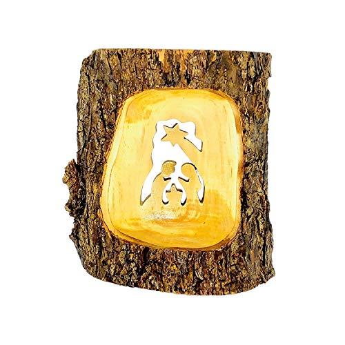 Presepe con stella artigianale in legno di ulivo intagliato ornamento di Natale