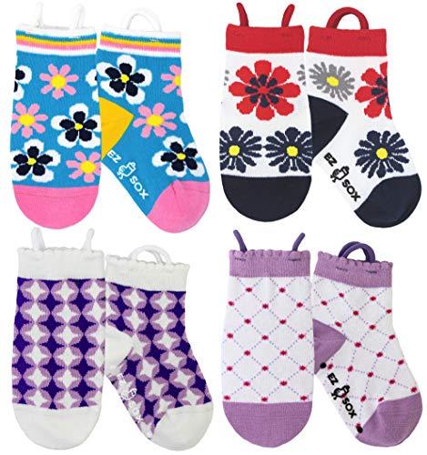 Ez Sox - Mädchen Socken, Easy Pull -Schleifen, 1-3 Jahre, Flowers-stars-diamonds