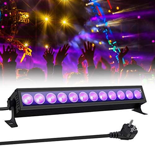 UV Beleuchtung, GLIME Schwarzlicht UV LED Lichteffekt 36W 12 LEDs UV Bar AC110-240V Bühnenbeleuchtung mit EU-Stecker für Club Party Karneval Disco Ballsaal Bühne Halloween