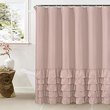 WestWeir Smocking Ruffle Shower Curtain with Hooks for Bathroom 72 x 72 Inches Texture Fashion Microfiber (Blush)