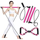 Pilates Bar Kit with Resistance Band for Portable Home Gym Workout, 3-Section Yoga Pilates Stick...