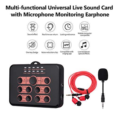 Tarjeta de sonido universal universal multifuncional Cambiador de voz 8 efectos de sonido con monitoreo de micrófono Auricular para teléfono móvil y computadora