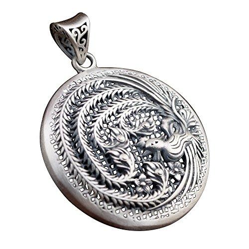 FORFOX Vintage 925 Sterling Silber Runden Hohl Phönix Filigrane Halskette Anhänger für Damen