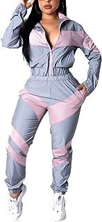 Women's Letter Print 2 Piece Outfit Colorblock Windbreaker Jacket Crop Top and Long Pants Set