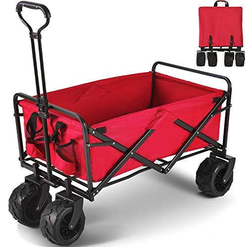 XGeek Bollerwagen Faltbar Handwagen, Transportwagen Klappbar Gartenwagen 360° drehbar Picknickwagen Strandwagen belastbar bis 80kg, mit Bremsen (Rot2)