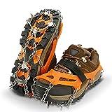 IPSXP Crampones, 19 Dientes Tacos de Tracción Nieve y Hielo Tracción para Invierno Deportes Montañismo Escalada Caminar Alpinismo Cámping Acampada Senderismo - L