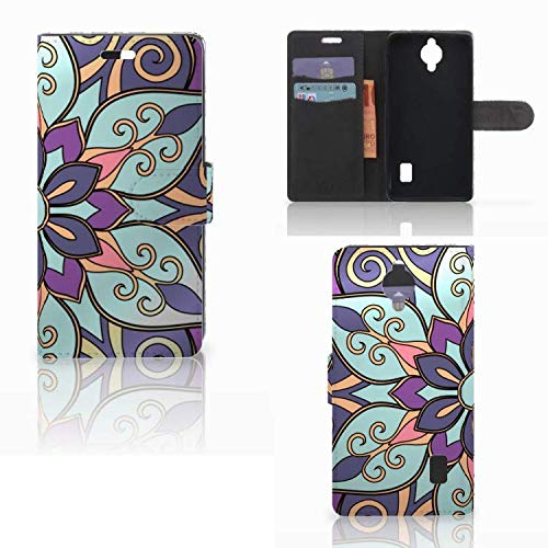 B2Ctelecom Slim Wallet case für Huawei Y635 Hülle Lila Blume