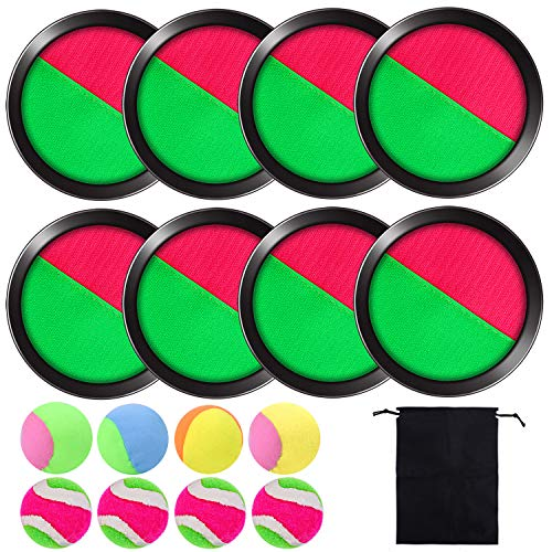 Cooraby Toss and Catch Paddle Game Disc 4 Set Paddle Toss and Catch Ball Sport Game Suitable for Sports, Beach and Party Favor with Storage Bag, 8 Paddles and 8 Balls (15.5cm)