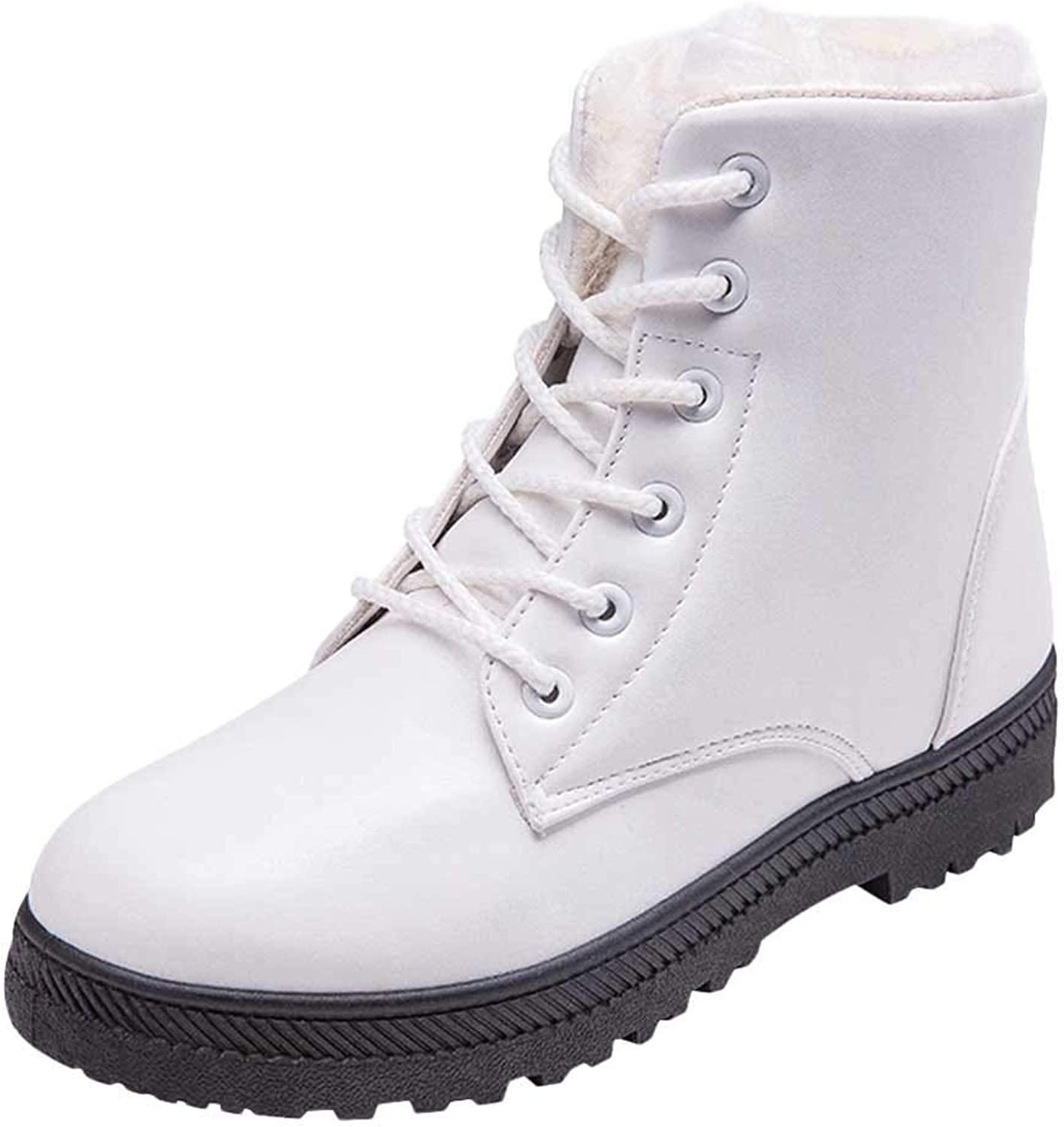 SUNNY Store Women's Suede Waterproof Lace Up Winter High Top Snow Boots