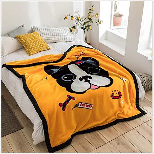 JDCFAS Geel huisdier hond flanellen deken, klassieke pluizige microvezel, geschikt voor reizen slaapbank