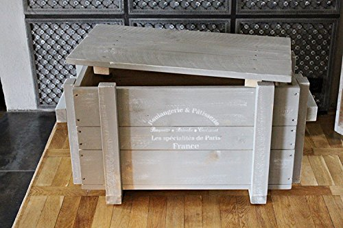 dekorie67 Truhe aus Holz sehr stabil grau Shabby Vintage fertig montiert - 3