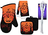 Halloween Oven Mitts and Pot Holders Set with Halloween Kitchen Towels and Skeleton Arm Tongs, Halloween Kitchen Decor, Halloween Home Decor, Pot Holders and Oven Mitts Sets (Haunt It)
