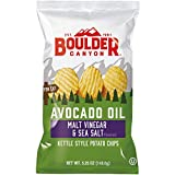 Boulder Canyon Avocado Oil Kettle Cooked Potato Chips, Malt Vinegar & Sea Salt, Wavy Cut, 5.25 oz. Bag, 12 Count –Crunchy Chips Cooked in 100% Avocado Oil, Great for Lunches or Snacking on the Go