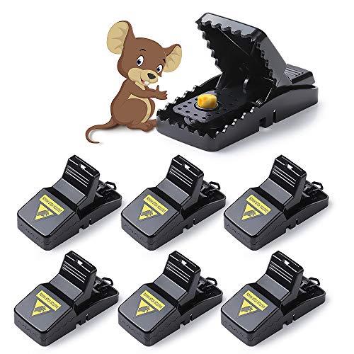 Diealles Shine Rat Trap, Juego de 6 Trampa para Ratones con Cebo, Reutilizable Trampa para Ratas y Ratones