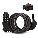 Aibrisk Bike Combination Lock Bike Cable Lock 5-Digit Secure Resettable Combination Bike Chain Lock with Mounting Bracket